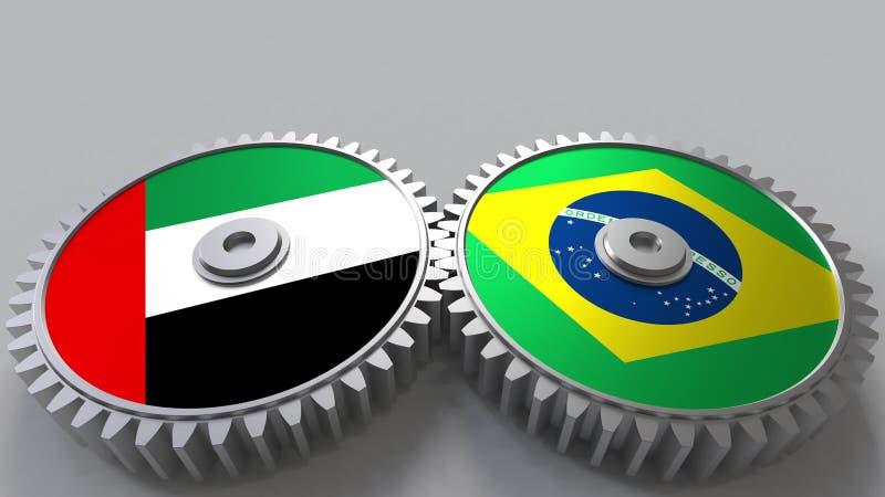 Flaggor av UAE och Brasilien på att koppla ihop kugghjul Begreppsmässig tolkning 3D för internationellt samarbete vektor illustrationer