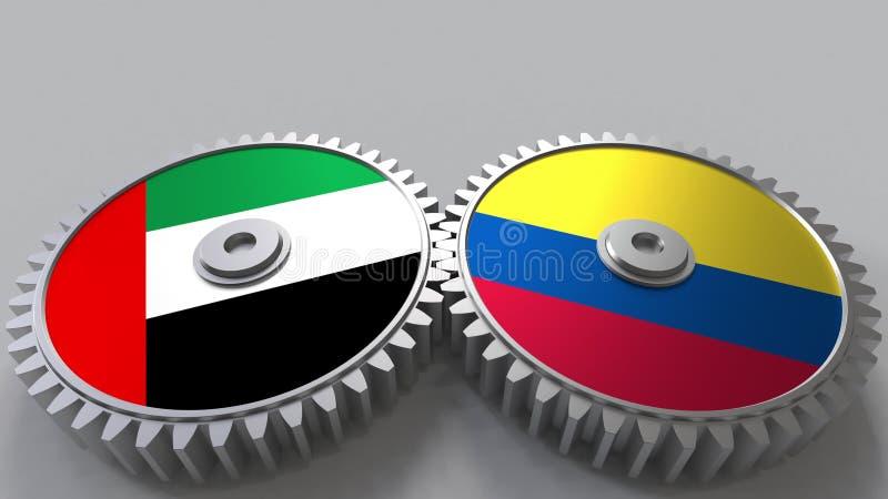 Flaggor av UAE och Colombia på att koppla ihop kugghjul Begreppsmässig tolkning 3D för internationellt samarbete stock illustrationer