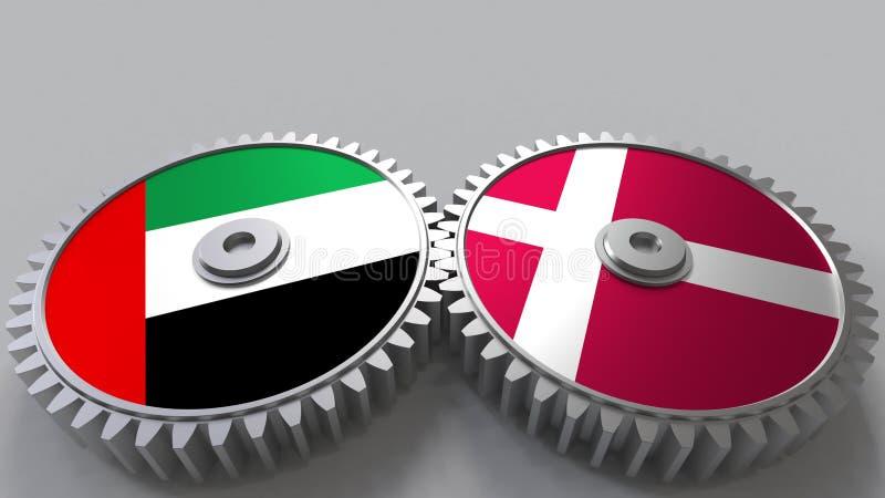 Flaggor av UAE och Danmark på att koppla ihop kugghjul Begreppsmässig tolkning 3D för internationellt samarbete stock illustrationer