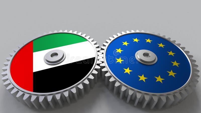 Flaggor av UAE och den europeiska unionen på att koppla ihop kugghjul Begreppsmässig tolkning 3D för internationellt samarbete royaltyfri illustrationer