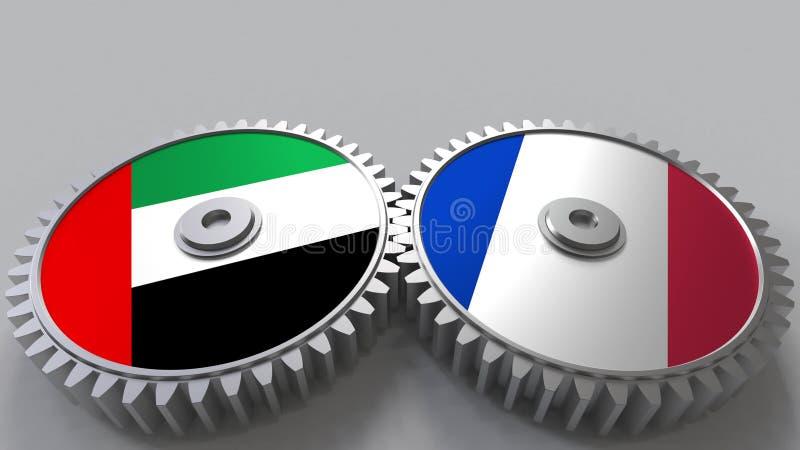 Flaggor av UAE och Frankrike på att koppla ihop kugghjul Begreppsmässig tolkning 3D för internationellt samarbete vektor illustrationer