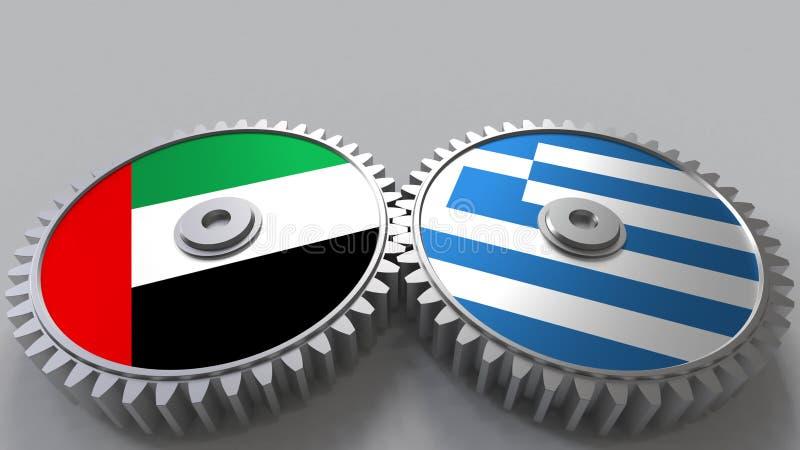 Flaggor av UAE och Grekland på att koppla ihop kugghjul Begreppsmässig tolkning 3D för internationellt samarbete vektor illustrationer