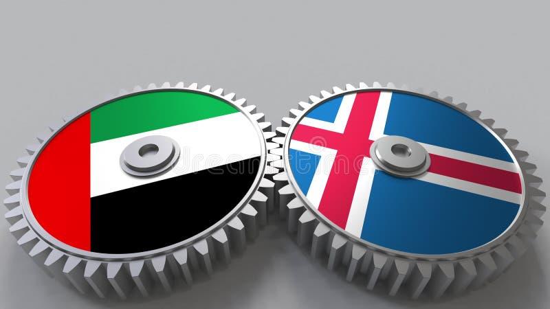 Flaggor av UAE och Island på att koppla ihop kugghjul Begreppsmässig tolkning 3D för internationellt samarbete royaltyfri illustrationer