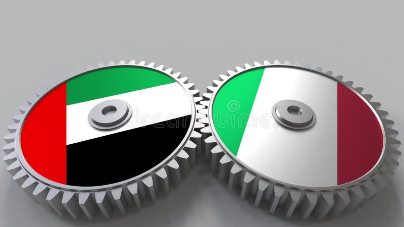 Flaggor av UAE och Italien på att koppla ihop kugghjul Begreppsmässig tolkning 3D för internationellt samarbete vektor illustrationer