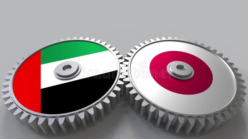 Flaggor av UAE och Japan på att koppla ihop kugghjul Begreppsmässig tolkning 3D för internationellt samarbete royaltyfri illustrationer