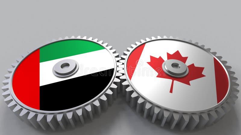 Flaggor av UAE och Kanada på att koppla ihop kugghjul Begreppsmässig tolkning 3D för internationellt samarbete vektor illustrationer
