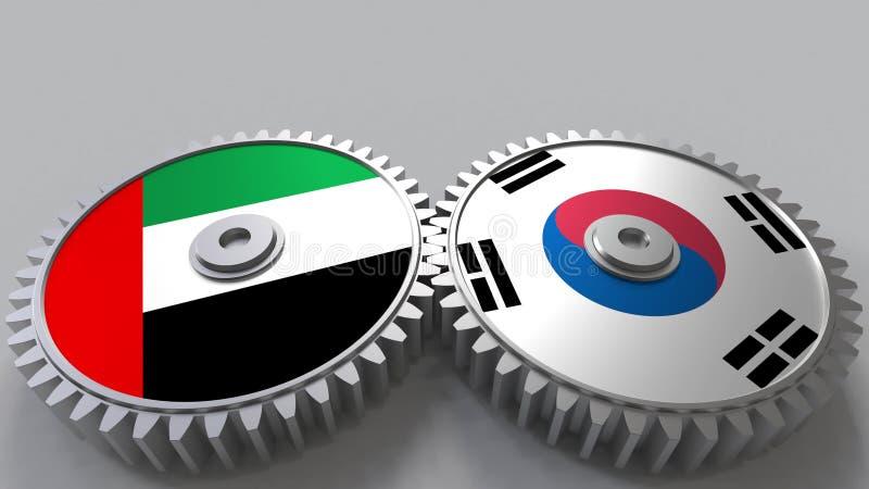 Flaggor av UAE och Korea på att koppla ihop kugghjul Begreppsmässig tolkning 3D för internationellt samarbete stock illustrationer