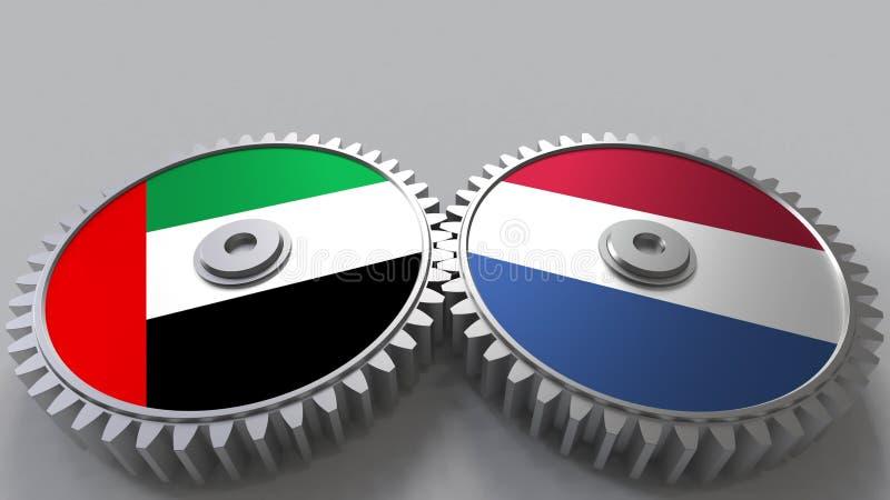 Flaggor av UAE och Nederländerna på att koppla ihop kugghjul Begreppsmässig tolkning 3D för internationellt samarbete vektor illustrationer