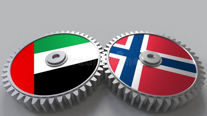 Flaggor av UAE och Norge på att koppla ihop kugghjul Begreppsmässig tolkning 3D för internationellt samarbete royaltyfri illustrationer