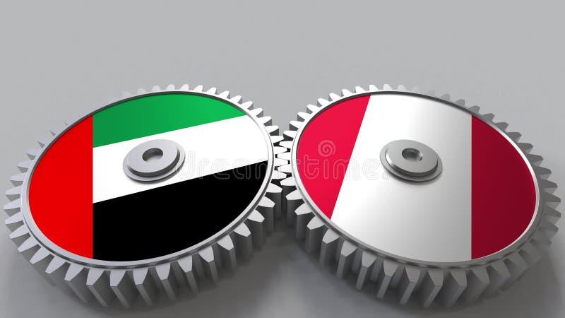 Flaggor av UAE och Peru på att koppla ihop kugghjul Begreppsmässig tolkning 3D för internationellt samarbete stock illustrationer