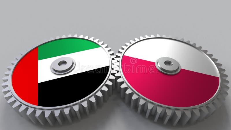 Flaggor av UAE och Polen på att koppla ihop kugghjul Begreppsmässig tolkning 3D för internationellt samarbete vektor illustrationer