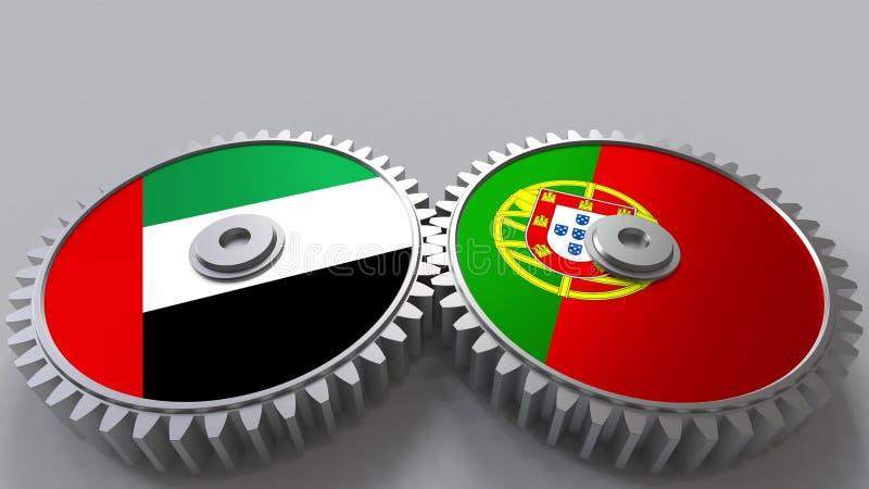 Flaggor av UAE och Portugal på att koppla ihop kugghjul Begreppsmässig tolkning 3D för internationellt samarbete vektor illustrationer
