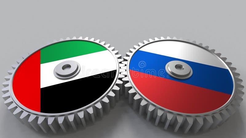 Flaggor av UAE och Ryssland på att koppla ihop kugghjul Begreppsmässig tolkning 3D för internationellt samarbete royaltyfri illustrationer