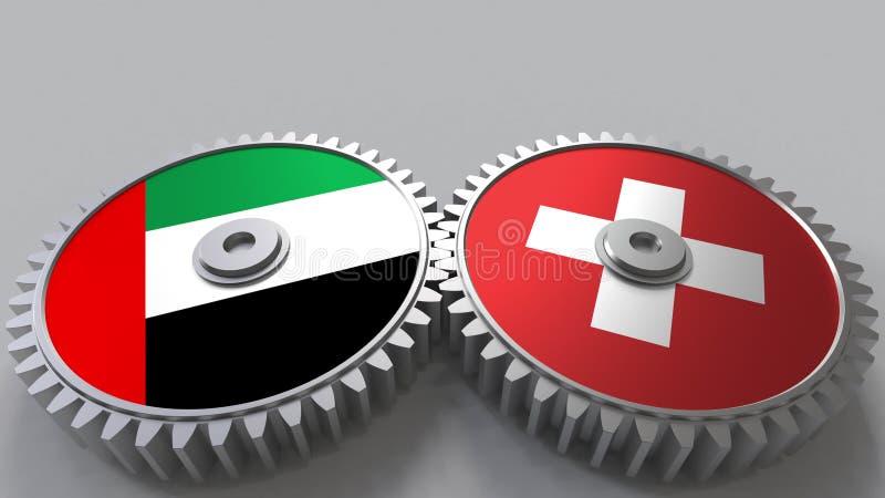 Flaggor av UAE och Schweiz på att koppla ihop kugghjul Begreppsmässig tolkning 3D för internationellt samarbete vektor illustrationer