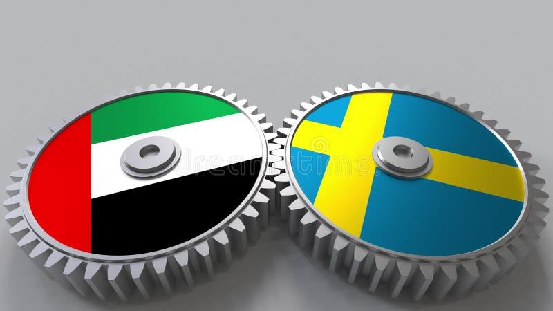 Flaggor av UAE och Sverige på att koppla ihop kugghjul Begreppsmässig tolkning 3D för internationellt samarbete royaltyfri illustrationer