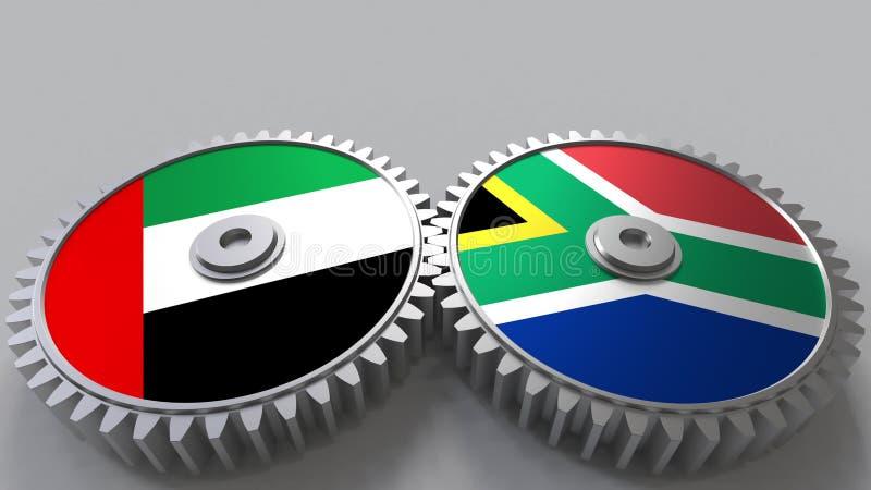 Flaggor av UAE och Sydafrika på att koppla ihop kugghjul Begreppsmässig tolkning 3D för internationellt samarbete vektor illustrationer