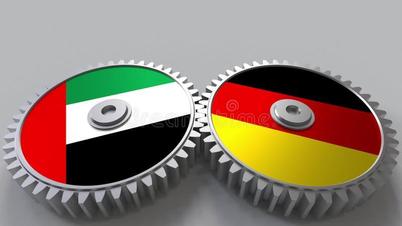 Flaggor av UAE och Tyskland på att koppla ihop kugghjul Begreppsmässig tolkning 3D för internationellt samarbete stock illustrationer