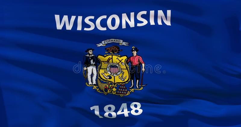 Flaggor av Uen S tillstånd: Vinkande tygflagga Wisconsin stock illustrationer