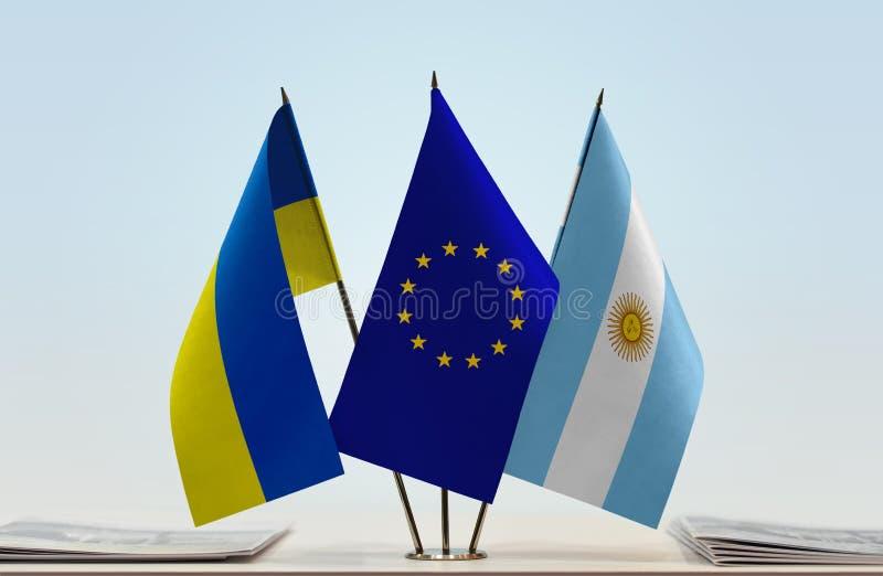 Flaggor av Ukraina EU och Argentina arkivfoton