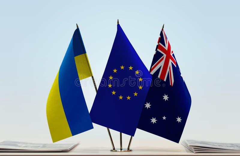 Flaggor av Ukraina EU och Australien royaltyfria bilder