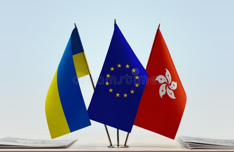 Flaggor av Ukraina EU och Hong Kong royaltyfria bilder