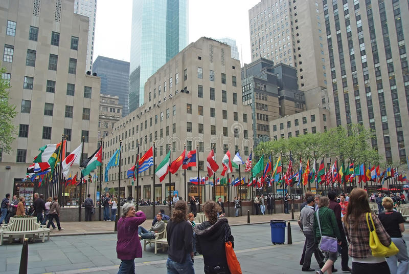 Flaggor av United Nations medlemsländer i New York, USA royaltyfri fotografi