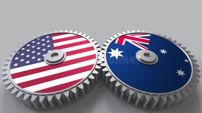 Flaggor av USA och Australien på att koppla ihop kugghjul Begreppsmässig tolkning 3D för internationellt samarbete royaltyfri illustrationer