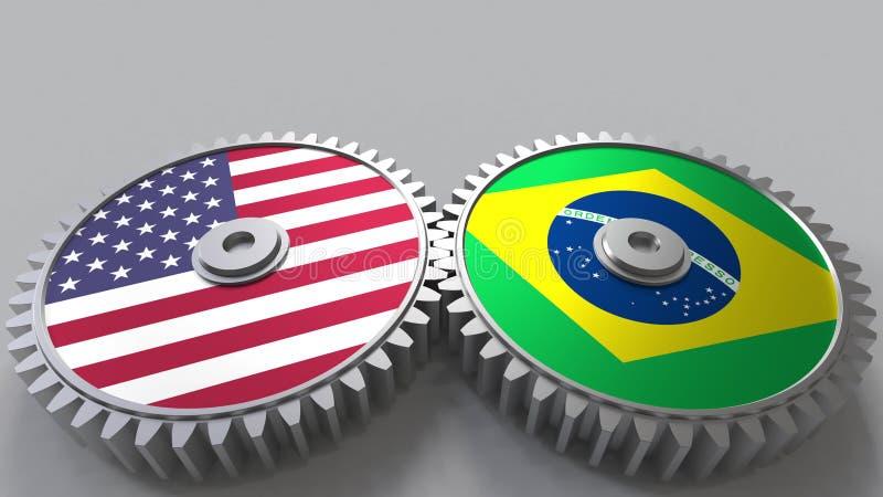 Flaggor av USA och Brasilien på att koppla ihop kugghjul Begreppsmässig tolkning 3D för internationellt samarbete royaltyfri illustrationer