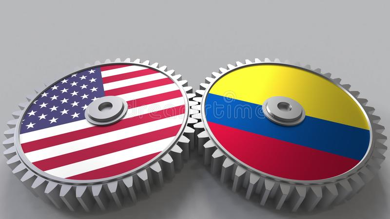 Flaggor av USA och Colombia på att koppla ihop kugghjul Begreppsmässig tolkning 3D för internationellt samarbete stock illustrationer