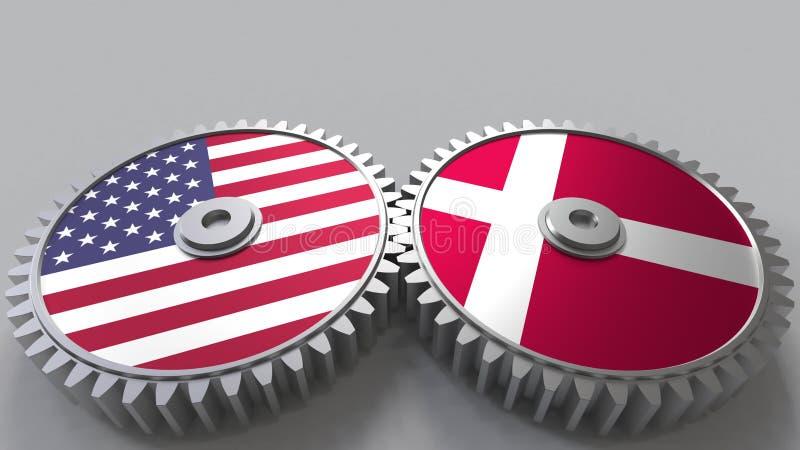 Flaggor av USA och Danmark på att koppla ihop kugghjul Begreppsmässig tolkning 3D för internationellt samarbete royaltyfri illustrationer