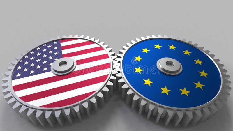 Flaggor av USA och den europeiska unionen på att koppla ihop kugghjul Begreppsmässig tolkning 3D för internationellt samarbete vektor illustrationer