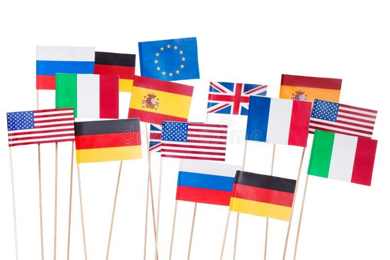 Flaggor av USA och för europeisk union medlemsstater arkivbilder