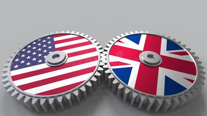 Flaggor av USA och Förenade kungariket på att koppla ihop kugghjul Begreppsmässig tolkning 3D för internationellt samarbete vektor illustrationer