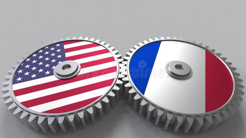 Flaggor av USA och Frankrike på att koppla ihop kugghjul Begreppsmässig tolkning 3D för internationellt samarbete vektor illustrationer
