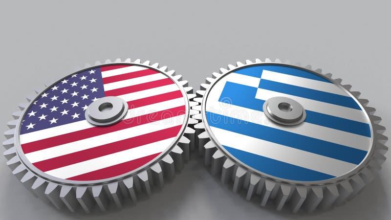 Flaggor av USA och Grekland på att koppla ihop kugghjul Begreppsmässig tolkning 3D för internationellt samarbete vektor illustrationer
