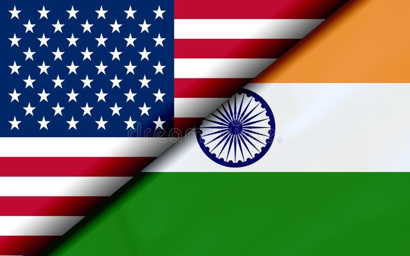 Flaggor av USA och Indien som diagonalt delas royaltyfri illustrationer