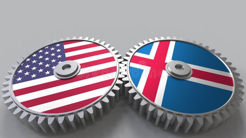 Flaggor av USA och Island på att koppla ihop kugghjul Begreppsmässig tolkning 3D för internationellt samarbete stock illustrationer