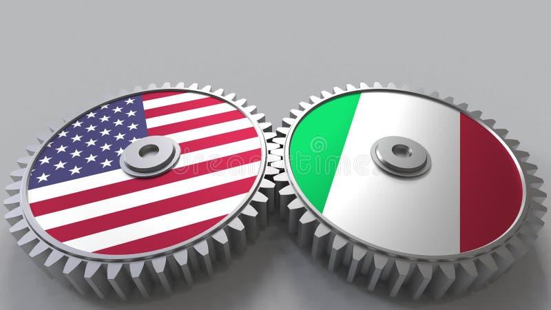Flaggor av USA och Italien på att koppla ihop kugghjul Begreppsmässig tolkning 3D för internationellt samarbete stock illustrationer