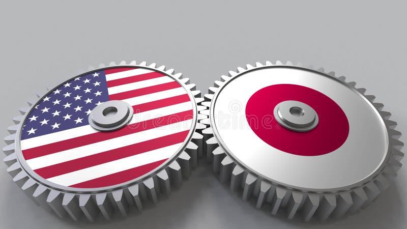 Flaggor av USA och Japan på att koppla ihop kugghjul Begreppsmässig tolkning 3D för internationellt samarbete royaltyfri illustrationer