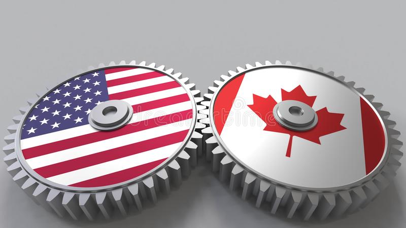 Flaggor av USA och Kanada på att koppla ihop kugghjul Begreppsmässig tolkning 3D för internationellt samarbete stock illustrationer