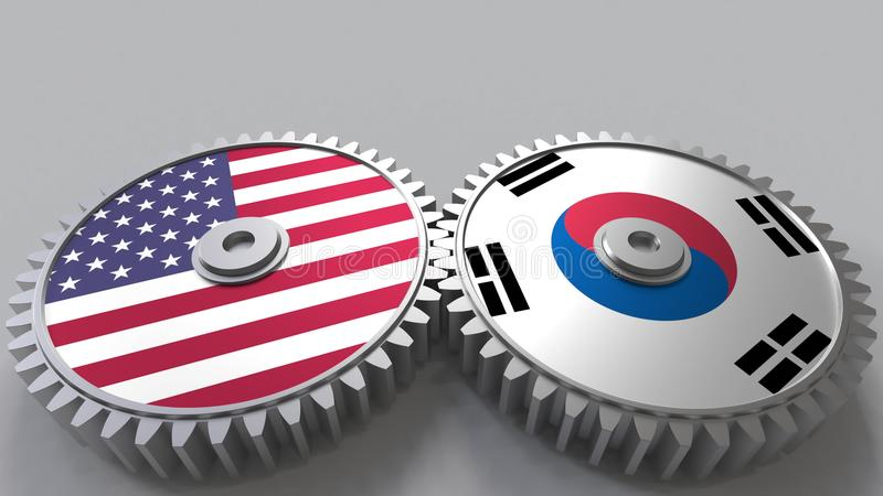 Flaggor av USA och Korea på att koppla ihop kugghjul Begreppsmässig tolkning 3D för internationellt samarbete stock illustrationer