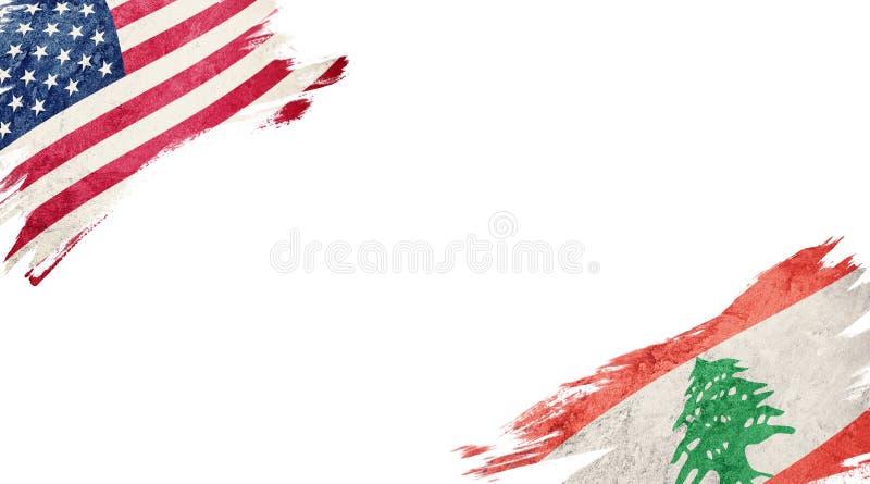 Flaggor av USA och Libanon på vit bakgrund stock illustrationer