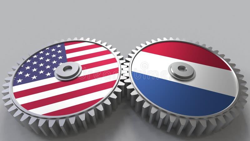 Flaggor av USA och Nederländerna på att koppla ihop kugghjul Begreppsmässig tolkning 3D för internationellt samarbete vektor illustrationer