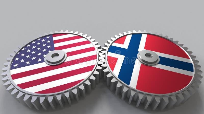 Flaggor av USA och Norge på att koppla ihop kugghjul Begreppsmässig tolkning 3D för internationellt samarbete royaltyfri illustrationer
