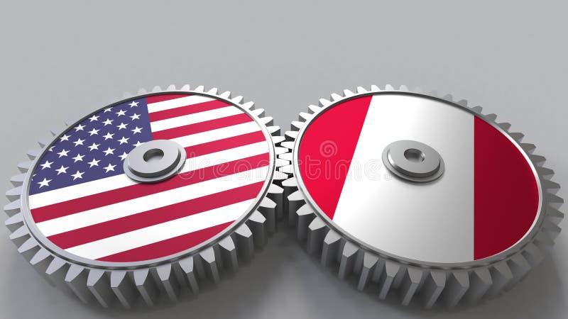 Flaggor av USA och Peru på att koppla ihop kugghjul Begreppsmässig tolkning 3D för internationellt samarbete stock illustrationer