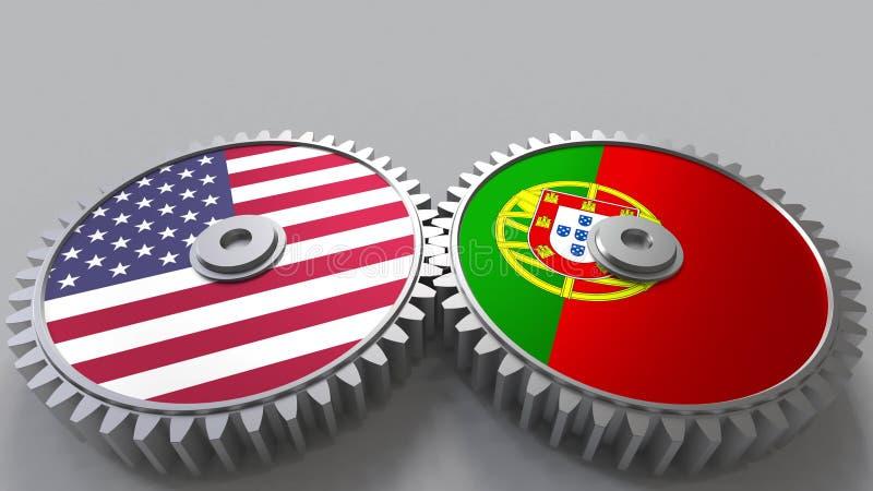 Flaggor av USA och Portugal på att koppla ihop kugghjul Begreppsmässig tolkning 3D för internationellt samarbete royaltyfri illustrationer