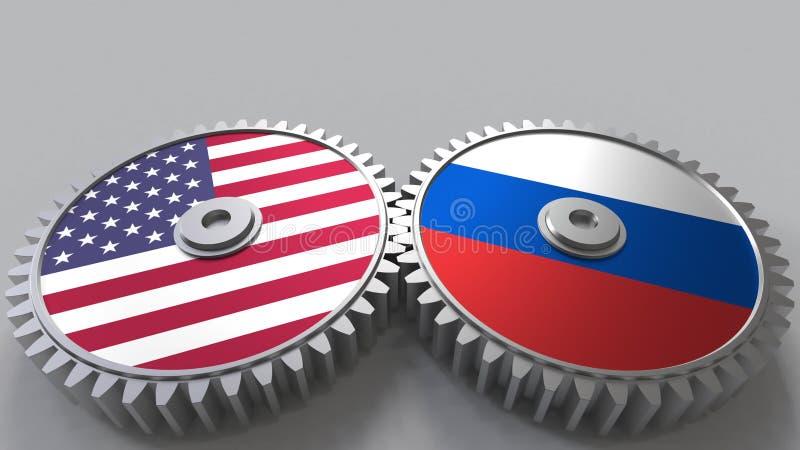 Flaggor av USA och Ryssland på att koppla ihop kugghjul Begreppsmässig tolkning 3D för internationellt samarbete vektor illustrationer