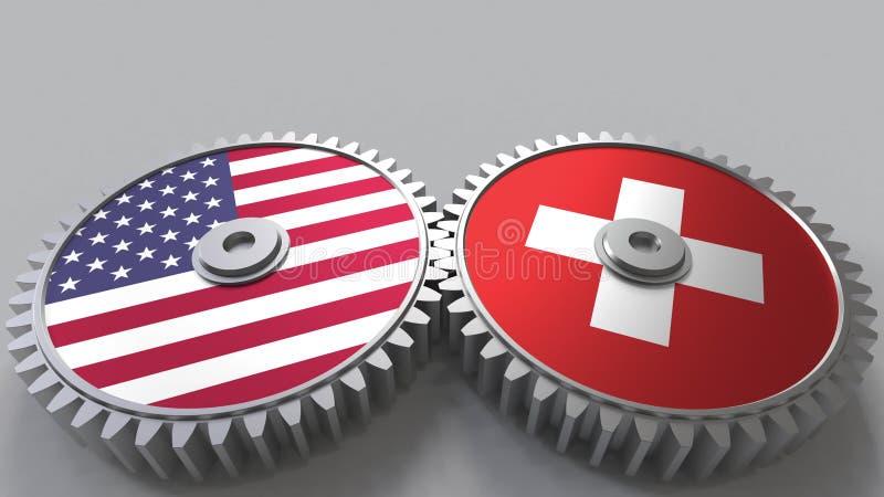 Flaggor av USA och Schweiz på att koppla ihop kugghjul Begreppsmässig tolkning 3D för internationellt samarbete royaltyfri illustrationer