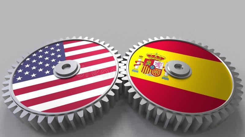 Flaggor av USA och Spanien på att koppla ihop kugghjul Begreppsmässig tolkning 3D för internationellt samarbete royaltyfri illustrationer
