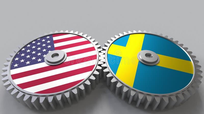 Flaggor av USA och Sverige på att koppla ihop kugghjul Begreppsmässig tolkning 3D för internationellt samarbete vektor illustrationer